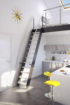 Escalier gain de place Venise en inox. Lapeyre