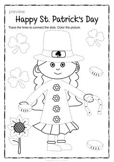 Patrick`s Day Trace and Color Pages {Fine Motor Skills + Pre-writing} Tracing Worksheets, Kindergarten Worksheets, San Patrick, Dot Dot, Connect The Dots, Pre Writing, Morning Work, Motor Activities, Fine Motor Skills