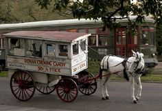 In 1915, Sam Cortese had a wagon designed so that he could make his mother's special Italian taffy recipe as he rode through the streets of the city; the same wagon is used today ~ The Roman Candy Man can be found in various places and is the best snack for anytime!