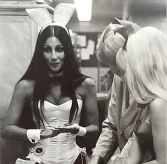 Apparently in the Easter spirit, Playboy founder Hugh Hefner dug up a classic photo of the icon dressed as a Playboy bunny at one of his clubs during the early Hef decided to share the classic photo on his social media as part of Charlotte Rampling, Twiggy, Alexa Chung, Divas, The Playboy Club, Cher Bono, Bunny Outfit, Hugh Hefner, Actrices Hollywood