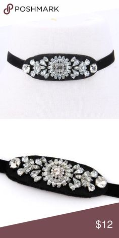 Embezzled Vintage style choker! 11.5 x 2.5 oval center in black with sparkling multi shaped beading Jewelry Necklaces