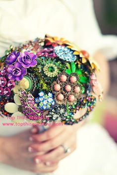 Vintage Brooch Bouquet Multi colored - Made to Order Extra LARGE Bouquet. $550.00, via Etsy.