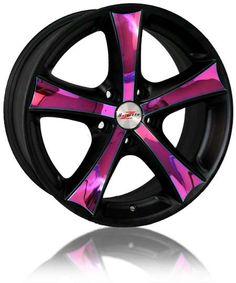 Pink n Black! Rims For Cars, Rims And Tires, Car Rims, Sexy Cars, Hot Cars, Pink Rims, Pink Truck, Chevy Girl, Car Colors