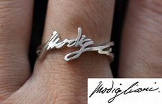 Personalized Handwriting Ring - Sterling Silver - Any Symbol Any Language is Possible by bigEjewelry on Etsy https://www.etsy.com/listing/170204191/personalized-handwriting-ring-sterling