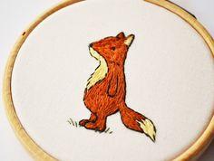 cute kawaii woodalnd art Fox Miniauture Hand Embroidery by PixiecraftHandmade on Etsy