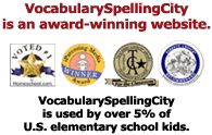 Spelling and Vocabulary Site. There is both free and paid content.