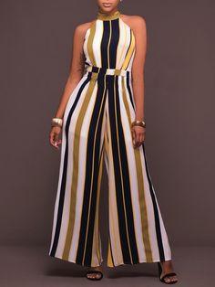 Buy Chicloth Women Striped Wide Leg Jumpsuit Halter Neck Sleeveless High Waist Romper Bodysuit,Cheap Womens Casual Pants,Cheap Jumpsuits and Rompers. Long Jumpsuits, Jumpsuits For Women, Fashion Mode, Fashion Outfits, Casual Wear, Casual Outfits, Casual Pants, Vetement Fashion, Printed Jumpsuit