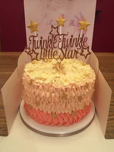 Ruffle piped 1st birthday cake Twinkle twinkle little star theme