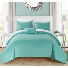 Chic Home Kingston 8-Piece Turquoise Bed in a Bag Duvet Set