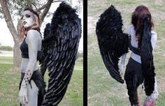 Harpyie halloween kostüm frau idee schwarze flügel