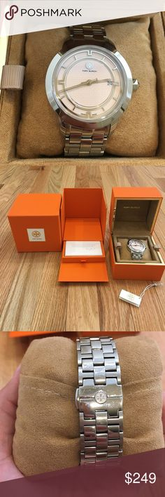 Tory Burch Tory Watch 37mm Pink Stainless Steel 💯 Authentic Tory Burch Tory Watch in Stainless Steel with pink face. 37mm case, 18mm band width. Uniquely geometric markers help tell three-hand time for this logoed watch expertly crafted in Switzerland. Watch has normal wear. Includes pink outer box, orange watch box with booklets, original tag and extra links. No trades! Tory Burch Accessories Watches