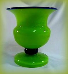 1920s Art Deco Czech Glass Loetz Tango footed Vase Cup Mug Bohemian Green Blue