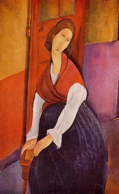 Jeanne Hebuterne in Red Shawl, 1917 by Amedeo Modigliani. Expressionism. portrait. Private Collection