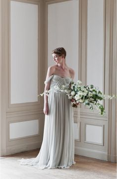 Today's Ethereal Wedding Gowns are full of effortless movement, delicate details and endless romance. These dreamy dresses from Samuelle Couture, Alexandra Grecco and more are perfect for a romantic outdoor wedding or any fine art bride. Chic Wedding, Wedding Bride, Wedding Bouquet, Wedding Flowers, Dream Wedding, Bridal Gowns, Wedding Gowns, Gowns 2017, Ethereal Wedding