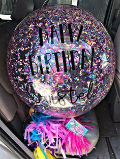 LED Clear personalize Balloon inside a Jumbo round Balloons orbz bubble Tulle Balloons, Jumbo Balloons, Round Balloons, Glitter Balloons, Glitter Confetti, Birthday Diy, Unicorn Birthday, Unicorn Party, Birthday Parties