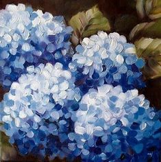 37 ideas flowers blue painting acrylic for 2020 Hydrangea Painting, Acrylic Painting Flowers, Blue Painting, Acrylic Art, Watercolor Paintings, Flower Watercolor, Flower Paintings, Diy Painting, Peony Painting
