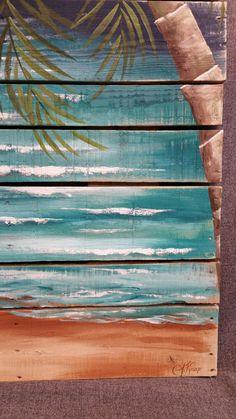 Wood Pallet Art BEACH Hand painted Seascape by TheWhiteBirchStudio