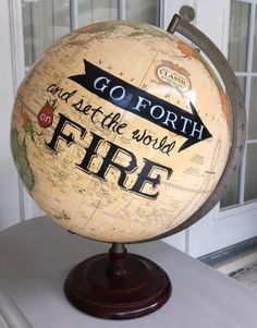 Arts And Crafts Style Globe Projects, Globe Crafts, Diy Projects, Globe Art, Map Globe, Painted Globe, Hand Painted, Fun Crafts, Arts And Crafts