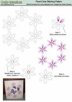 Floral Circle Stitching Pattern on Craftsuprint designed by Sarah Edwards…