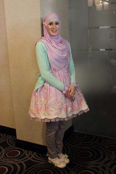 Simple Lolita fashion mint green and purple unicorn pastel hijab cute muslim kawaii Japanese style #Lolita