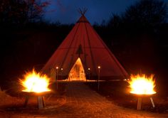 Teepee at night on lake meadow│    Seehotel Töpferhaus   @toepferhaus  #toepferhaus