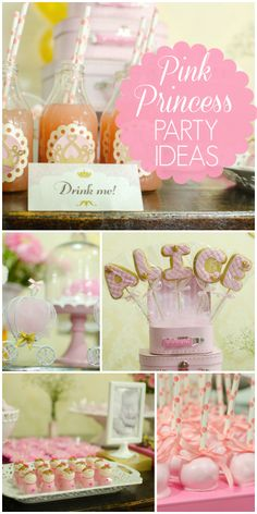 A pretty pink princess girl birthday party with touches of gold and amazing treats!  See more party ideas at CatchMyParty.com!