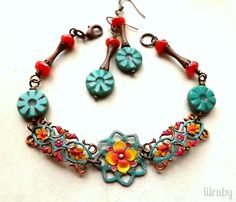 July/August challenge - hand painted choxie filigree with Czech glass. www.lilrubyjewelry.com