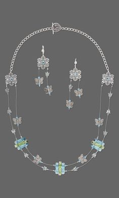"Double-Strand Necklace and Earring Set with SWAROVSKI ELEMENTS, Silver-Finished Brass Links and Antiqued Silver-Finished ""Pewter"" Beads"