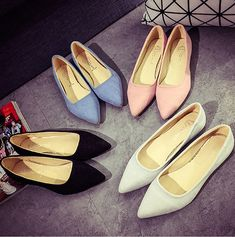 2017 Womens Casual Pointed Toe Slip On Loafers Boat Shoes Ballet Flats Shoes   7feb425e09d0