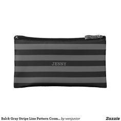 Balck Gray Stripe Line Pattern Cosmetic  Bag Cosmetic Bags