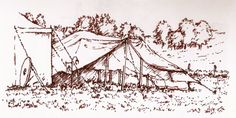 Pen & ink illustration (produced by Alan Whittle), depicting a scene at 2014's early May BH LRP event, held at Derby, organised by the Lorien Trust