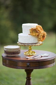 Love this understated cake and cake stand combo. Image via Style Me Pretty, Photo by Kristyn Hogan #cedarwoodweddings