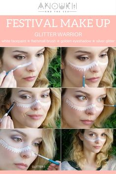 Quick and simple glitter festival make up -- For more inspiration go to…