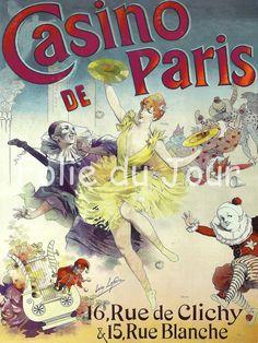 Antique French Casino de Paris cabaret Circus clown Poster To Frame - French Art nouveau. $12.00, via Etsy.