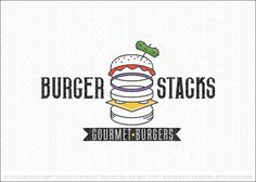 Logo for sale: Clean and modern burger logo design with the all of the hamburger elements and ingredients separated in a tall deconstructed stack with a few of the toppings coloured to add a punch of color.