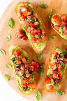 Avocado tomato basil bruschetta by Nadia Lim Great Recipes, Vegan Recipes, Cooking Recipes, Favorite Recipes, Savoury Recipes, Cooking Time, Yummy Recipes, Mashed Avocado, Breakfast