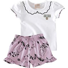Conjunto Infantil de Menina com Shorts Estampado Branco - Milon :: 764 Kids | Roupa bebê e infantil