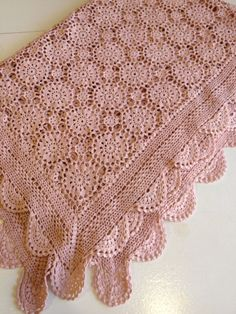 Gorgeous vintage crocheted tablecloth blush pink. $89.99, via Etsy.