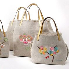 Embroidery Purse, Diy Bags Purses, Craft Bags, Linen Bag, Denim Bag, Fabric Bags, Cute Bags, Handmade Bags, Bag Making