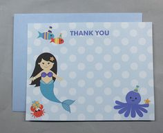 Blue Dots/Mermaid Under the Sea Thank You Cards (10) by RatDogInk on Etsy