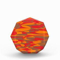 Orange, red and brown elliptical design acrylic award. #giftforanyone