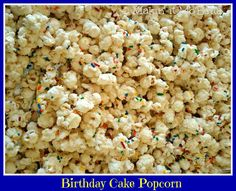 Birthday Cake Batter Popcorn. The original recipe is from Tasty Kitchen, sounds like it's a bit difficult to stir together. May use coconut oil instead of shortening. Who am I trying to kid? There's no making this 'healthier' :)