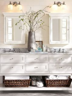 Best Reference of Bathroom Remodel Ideas for Small Bathrooms Design: Amazing Bathroom Remodel Ideas For Small Bathrooms With Dual Sink With White Drawers Dual Cabinet With Mirror Door Flower Vase Wall Mounted Lighting Rattan Basket For Towel ~ jsdpn.com Bathroom Designs Inspiration