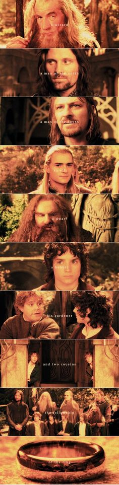 The Fellowship of the Ring!  Gandalf, Aragorn, Boromir, Legolas, Gimli, Frodo, Sam, Merry, and Pippin!