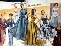 Glorias Weltmode, vintage sewing pattern magazine dress, evening gowns