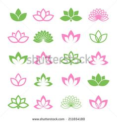 Lotus vector set for wellness, spa and yoga. - stock vector