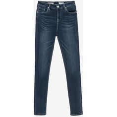 Blue Washed Skinny Jeans - Mid Rise ($109) ❤ liked on Polyvore featuring jeans, blue, skinny jeans, skinny leg jeans, skinny fit jeans, cut skinny jeans and medium rise jeans