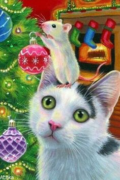 ACEO original cat mouse Christmas tree decorations fireplace painting art in Art, Paintings Christmas Events, Christmas Party Games, Outdoor Christmas Decorations, Christmas Traditions, Illustration Noel, Illustrations, Christmas Animals, Christmas Cats, Kitsch