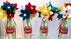 Make flower vases with recycled coca cola bottles! :D Genius! Paper Flowers Wedding, Wedding Bouquets, Coca Cola Wedding, Sheet Music Wedding, Cute Wedding Ideas, Wedding Inspiration, Groomsmen Boutonniere, Seaside Wedding, Wedding Set