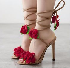 womens shoes summer ladies shoes flower women sandals wedding shoes pumps Fashion rose cross lacing high-heeled sandals